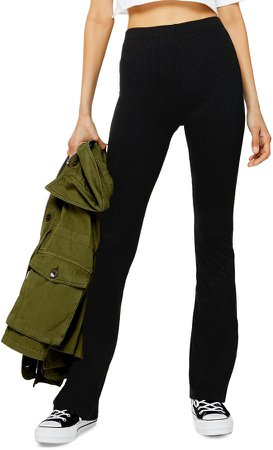 Ribbed Jersey Flare Pants