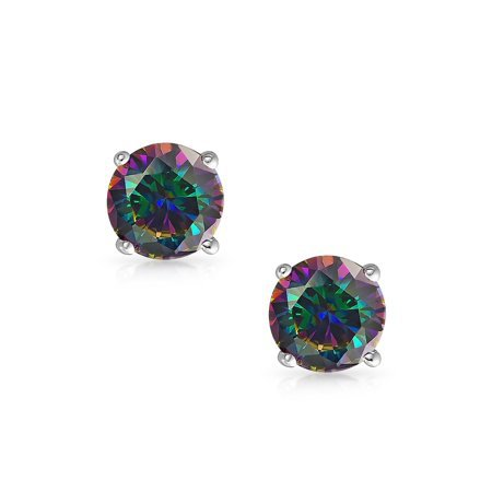 Bling Jewelry - Round Black Mystic Rainbow Cubic Zirconia Solitaire AAA CZ Stud Earrings For Men For Women 925 Sterling Silver More Size - Walmart.com - Walmart.com