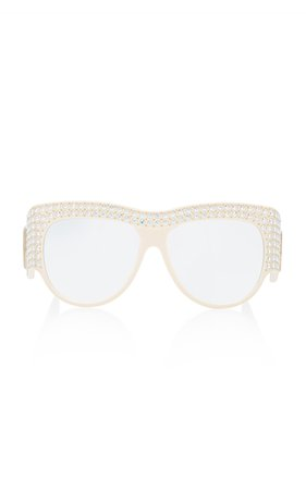 Crystal-Embellished D-Frame Acetate Sunglasses by Gucci | Moda Operandi