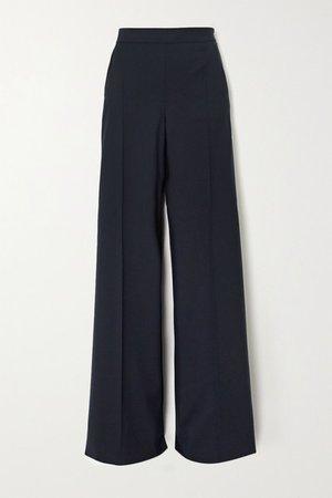 Wool-twill Wide-leg Pants - Navy