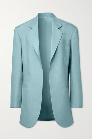 Coco Oversized Belted Wool-blend Blazer - Blue