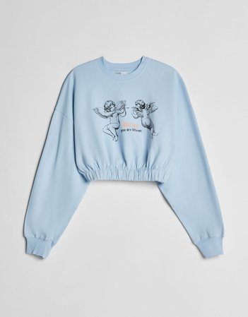 Light blue Printed sweatshirt with elastic detail - Sweatshirts and Hoodies - Woman | Bershka
