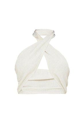 White Linen Look Cross Over Halter Crop Top   PrettyLittleThing USA