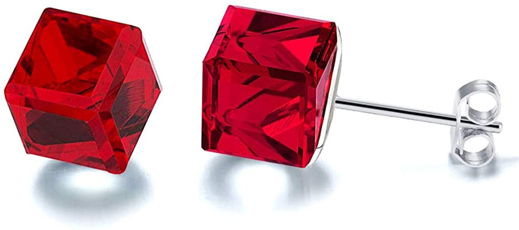 Amazon.com: Chryssa youree Women's Aurora Cube Crystals from Swarovski Crystal Stud stainless steel Earrings (ED-110) (Red): Jewelry