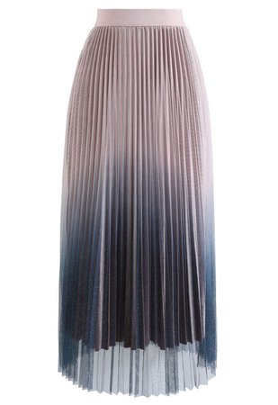 Gradient Shiny Mesh Pleated Skirt in Pink - Retro, Indie and Unique Fashion