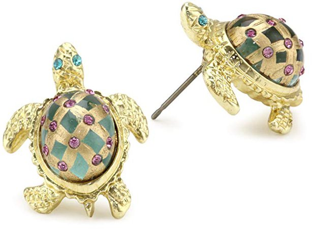 "Betsey Johnson ""Sea Excursion"" Turtle Stud Earrings: Jewelry"