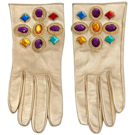 Christian Lacroix Jeweled Leather Gloves For Sale at 1stdibs