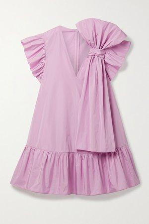 Bow-embellished Ruffled Shell Mini Dress - Baby pink