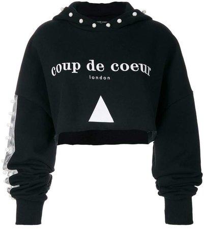 Coup De Coeur cropped pearl hoodie