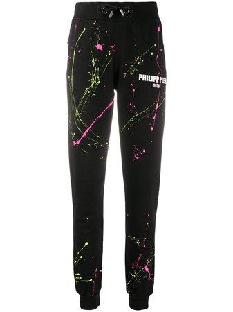 Philipp Plein Paint Splatter Logo Print Track Pants - Farfetch