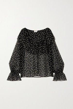 Ruffled Polka-dot Silk-chiffon Blouse - Black
