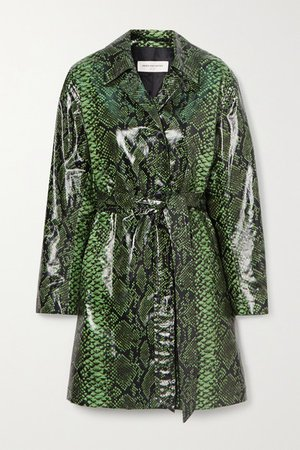 Snake-print Coated Cotton-blend Trench Coat - Green