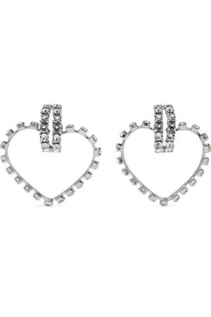 Saint Laurent | Silver-tone crystal clip earrings | NET-A-PORTER.COM