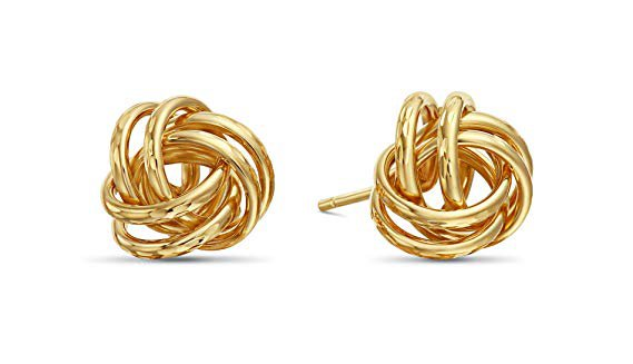 Amazon.com: 14k Yellow Gold Diamond-Cut Love Knot Stud Earrings: Toys & Games