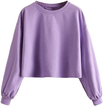 MAKEMECHIC Women's Causal Plain Drop Shoulder Pullover Crop Top Sweatshirt at Amazon Women's Clothing store