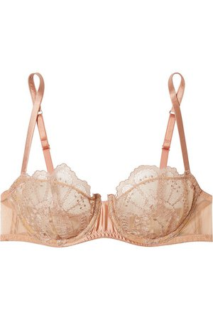 I.D. Sarrieri | Satin-trimmed embroidered tulle underwired balconette bra | NET-A-PORTER.COM