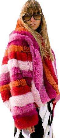 red pink orange coat