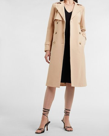 Lace Pieced Belted Trench Coat