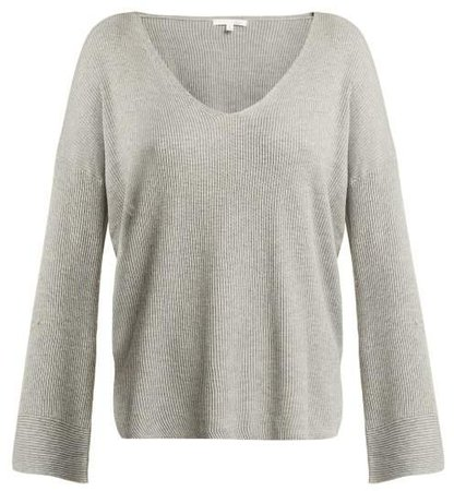Skin - Veronica Ribbed Knit Cotton Blend Sweatshirt - Womens - Grey