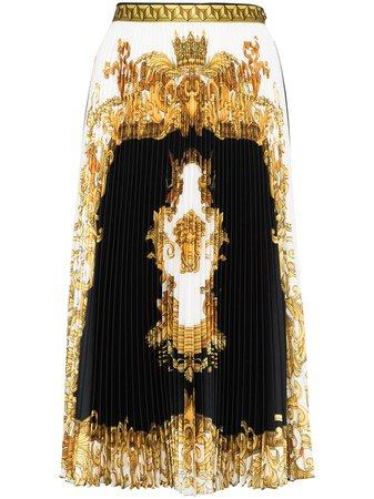 Versace Barocco Print Pleated Midi Skirt - Farfetch