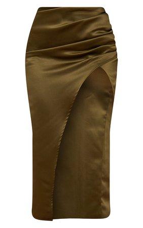Olive Green Woven Structured Split Leg Midi Skirt | PrettyLittleThing USA