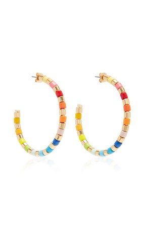 Golden Rainbow Gold-Tone and Enamel Hoop Earrings by Roxanne Assoulin | Moda Operandi