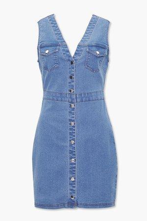 Denim Button-Front Mini Dress | Forever 21