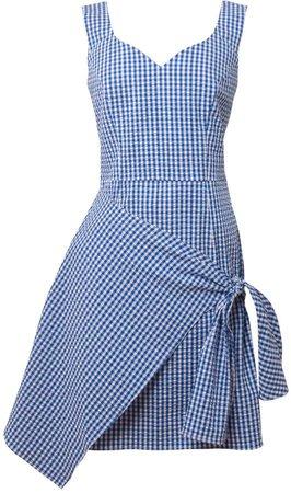 Tomcsanyi - Vecses Blue & White Overlap Skirt Dress