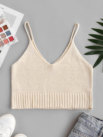 [31% OFF] 2020 Knit Cropped Cami Top In LIGHT COFFEE | ZAFUL