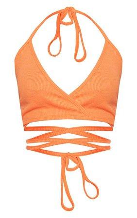 Shape Orange Ribbed Wrap Waist Detail Crop Top   PrettyLittleThing USA
