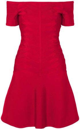 Off-the-shoulder Bandage Mini Dress - Red