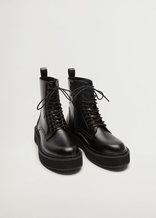 Lace-up track sole boots - Woman | Mango