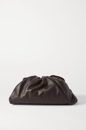 The Pouch Large Gathered Leather Clutch - Dark brown
