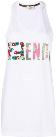 embroidered FF motif tank top