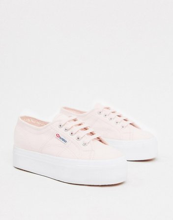 Superga 2790 flatform 4cm sneakers in pink | ASOS