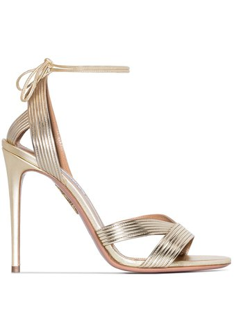 Aquazzura Ari 105mm leather sandals gold IARHIGS0SPLSOG - Farfetch