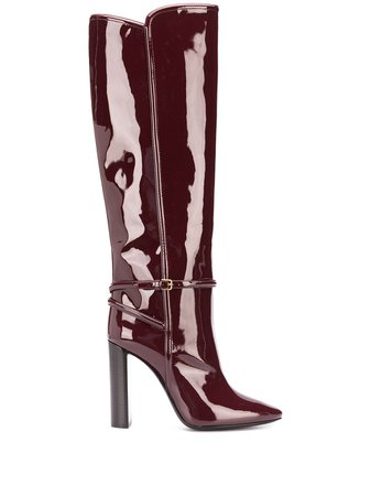 Saint Laurent Patent Pointed Toe Boot - Farfetch