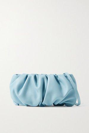 Bean Gathered Leather Shoulder Bag - Light blue