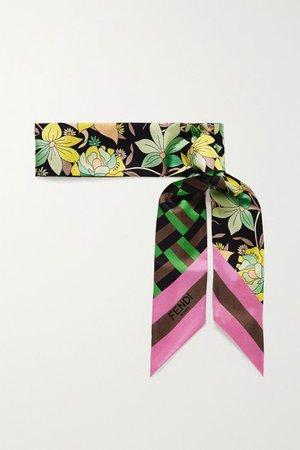 Fendi | Wrappy printed silk-twill scarf | NET-A-PORTER.COM