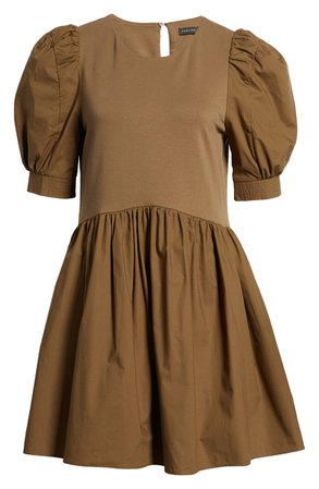 English Factory Mixed Media Puff Sleeve Dress | Nordstrom