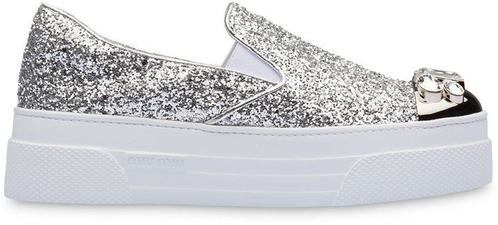 Glitter-Embellished Slip-On Sneakers