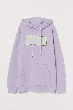 Oversized Sweatshirt Hoodie - Purple
