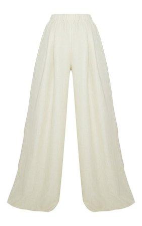 Khaki Linen Detail Print Wide Leg Trousers | PrettyLittleThing USA