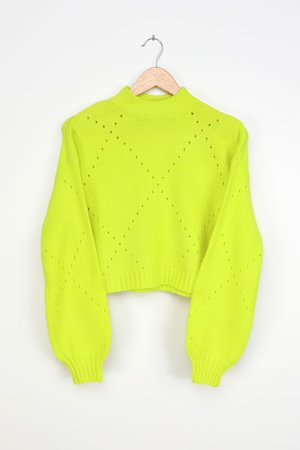 Lime Green Sweater - Cropped Sweater - Pointelle Sweater - Lulus