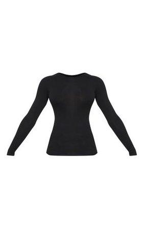 Tall Black Basic Long Sleeve Top   PrettyLittleThing