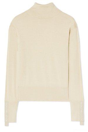Burberry | Nabuna embroidered merino wool and silk-blend sweater | NET-A-PORTER.COM