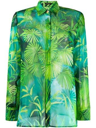 Versace Jungle Print Silk Shirt A82662A234695 Green | Farfetch