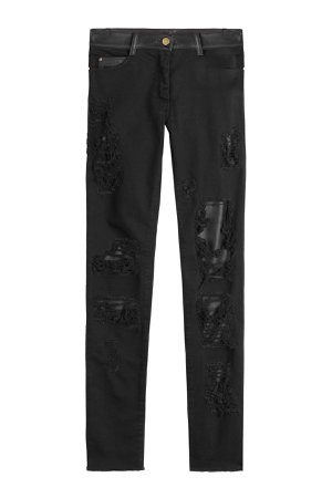 Distressed Skinny Pants with Leather Gr. FR 40
