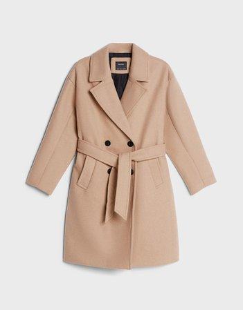 Wool coat with belt - Outerwear - Woman | Bershka