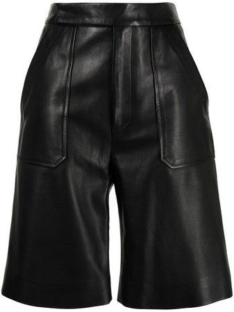 Shop black Khaite Theresa leather straight-leg shorts with Express Delivery - Farfetch